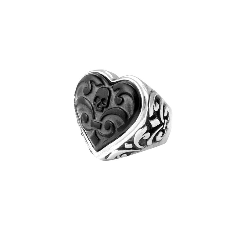 King Baby Carved Jet Heart Ring