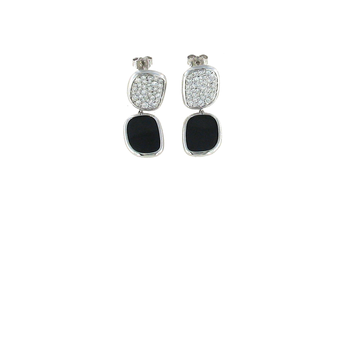 #25210 Of Earrings With Black Jade And Diamonds