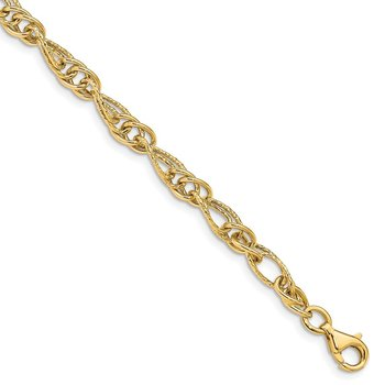 14K 7.5in Polished Fancy Link Bracelet