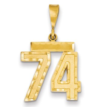 14k Medium Diamond-cut Number 74 Charm