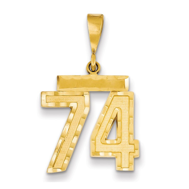 Quality Gold 14k Medium Diamond-cut Number 74 Charm