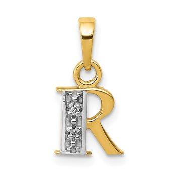 14KY with Rhodium Diamond Letter R Initial Pendant