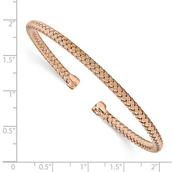 Leslie's Sterling Silver Rose Gold-plated Polished Woven Cuff Bangle