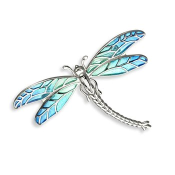 Blue Dragonfly Brooch-Pendant.Sterling Silver - Plique-a-Jour