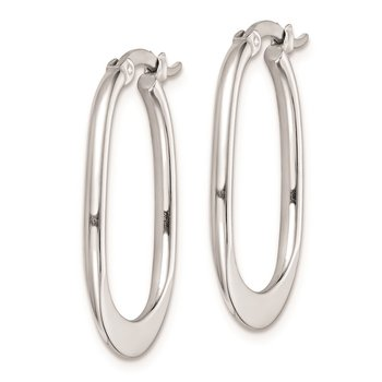 Sterling Silver Rhodium Plated Polished Hoop Earrings