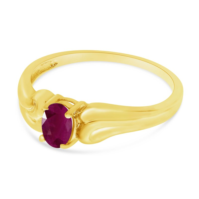 Color Merchants 14k Yellow Gold Oval Ruby Ring