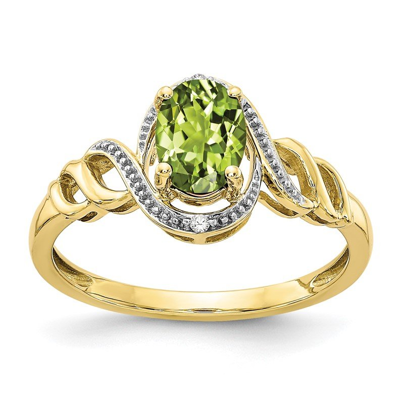 Quality Gold 10K Peridot and Diamond Ring