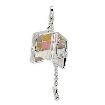 Sterling Silver Enameled Eyeshadow Compact w/Lobster Clasp Charm