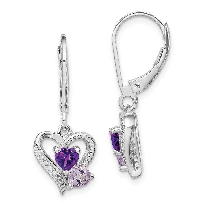 Quality Gold Sterling Silver Rhodium Amethyst & Pink Quartz & Diamond Heart Earrings