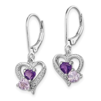Sterling Silver Rhodium Amethyst & Pink Quartz & Diamond Heart Earrings