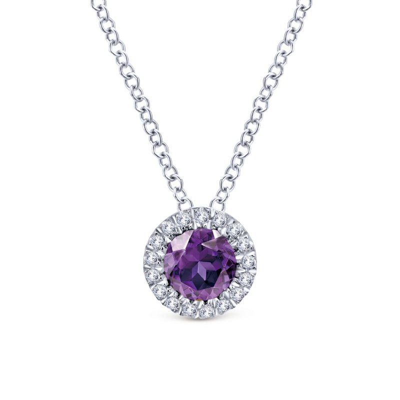 Gabriel Fashion 14K White Gold Round Amethyst Diamond Halo Pendant Necklace