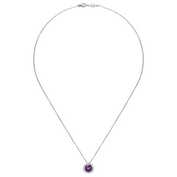 14K White Gold Round Amethyst Diamond Halo Pendant Necklace