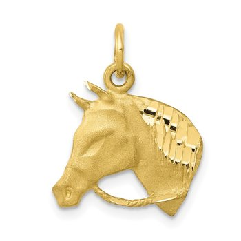 10k Solid Satin Horsehead with Reins Charm