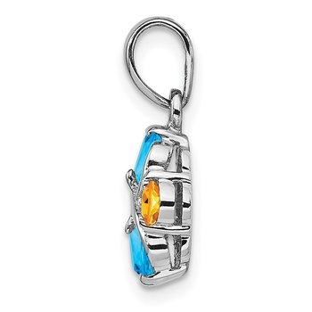 Sterling Silver Rhodium-plated Blue Topaz and Citrine Pendant