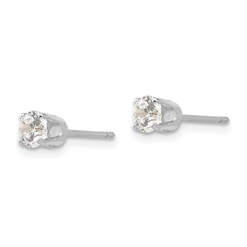 14k White Gold 4mm CZ stud earrings