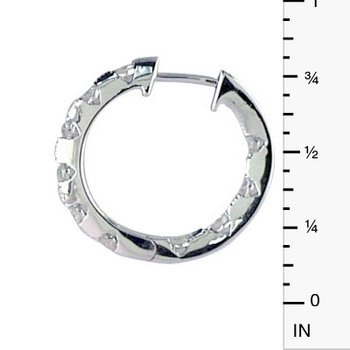 14k White Gold .50 Ct Diamond Inside Outside Hoop Earrings