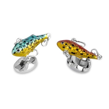 Silver Fish Bait Cufflinks