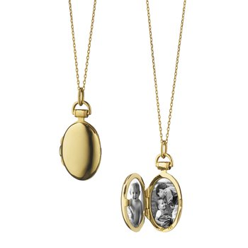 "18K Yellow Gold Petite ""Anna"" Locket Necklace"