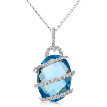 14k White Gold Blue Topaz and Diamond Roller Pendant