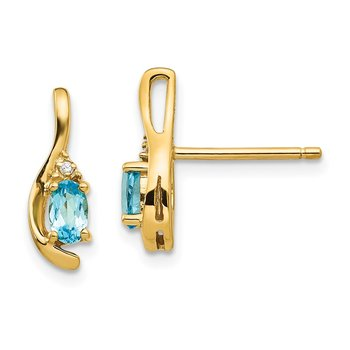14k Blue Topaz and Diamond Post Earrings