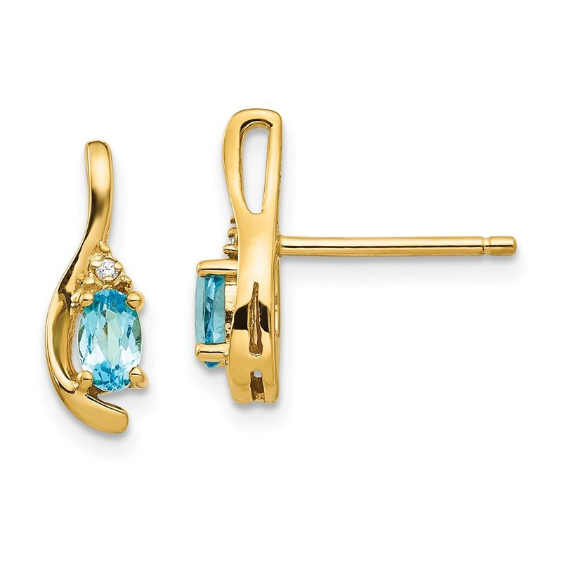 Quality Gold 14k Blue Topaz and Diamond Post Earrings