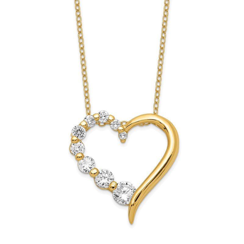 Quality Gold Sterling Silver Vermeil CZ Heart Journey Necklace