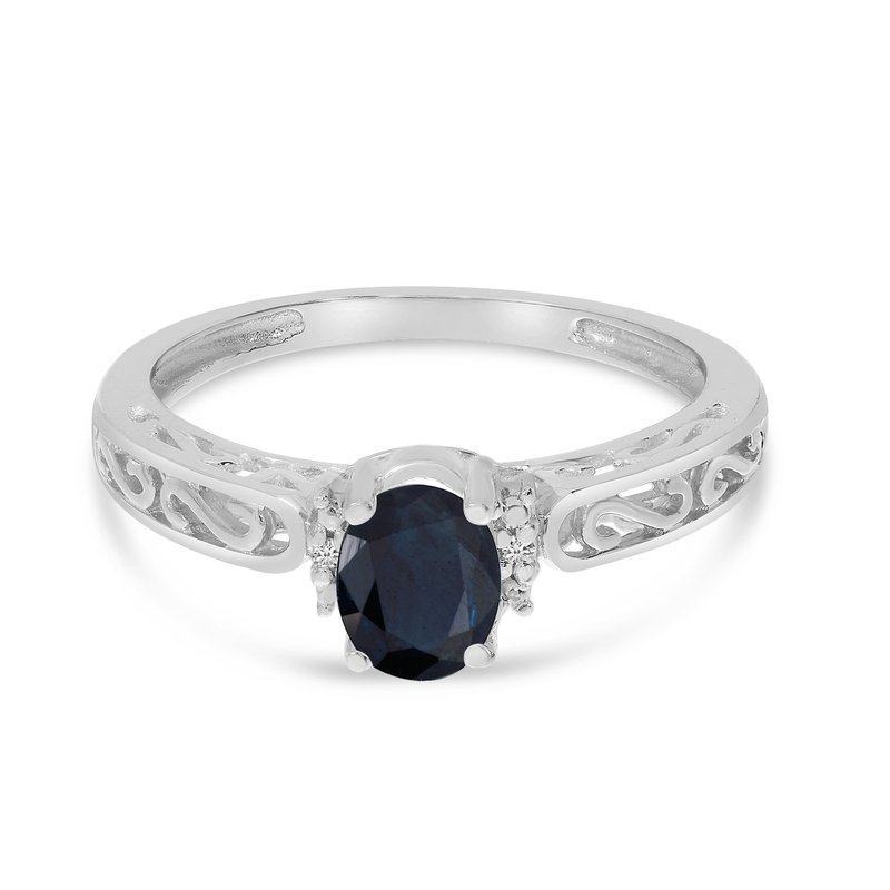 Color Merchants 14k White Gold Oval Sapphire And Diamond Ring