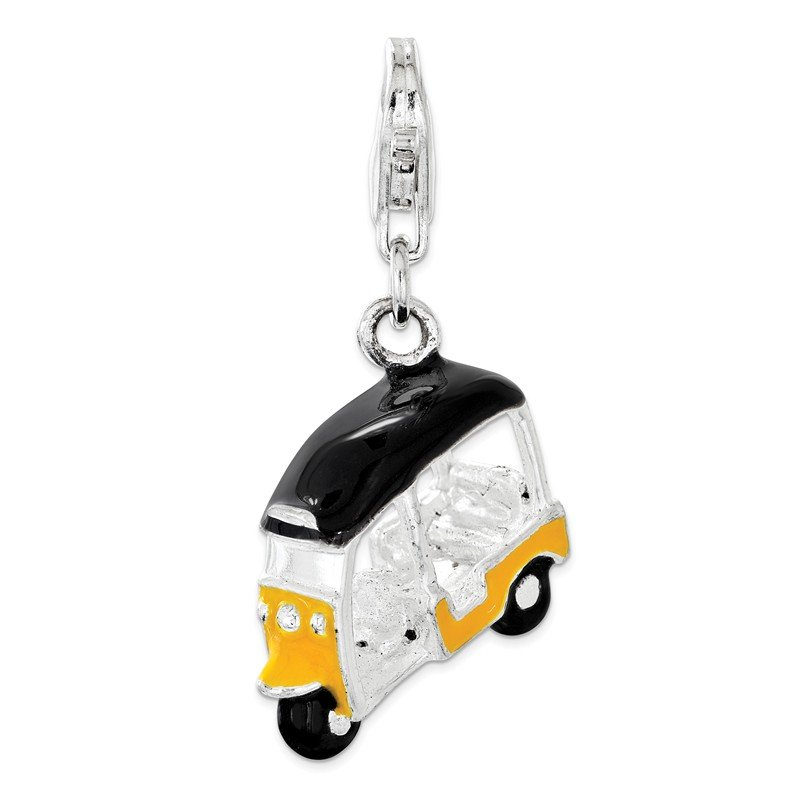 Quality Gold Sterling Silver Enameled Yellow 3D Golf Cart Lobster Clasp Charm
