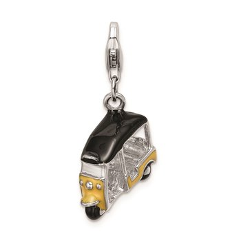Sterling Silver Amore La Vita Rhod-pl Enameled Yellow 3D Golf Cart Charm
