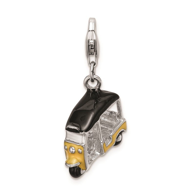 Quality Gold Sterling Silver Amore La Vita Rhod-pl Enameled Yellow 3D Golf Cart Charm