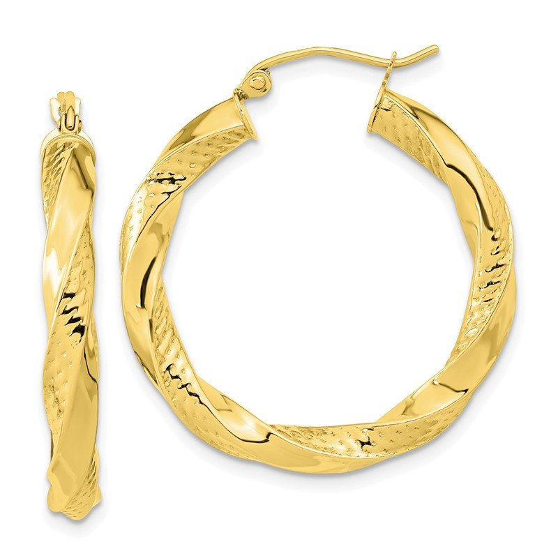 Quality Gold 10k Polished & Textured Twist Hoop Earrings