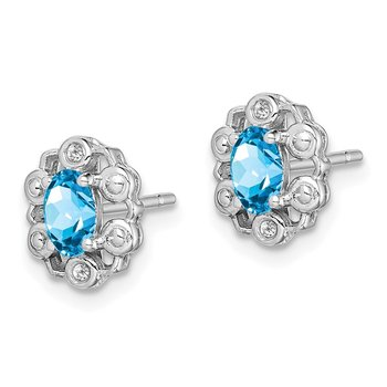Sterling Silver Rhodium-plated Light Swiss Blue Topaz & Diam. Earrings