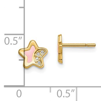 14k Madi K CZ Pink Enamel Star Post Earrings