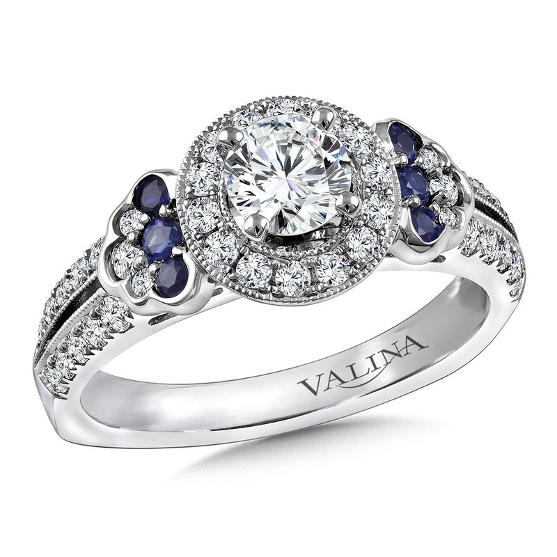 Valina Diamond and Blue Sapphire Engagement ring mounting in 14K White/Rose Gold (.42 ct. tw.)