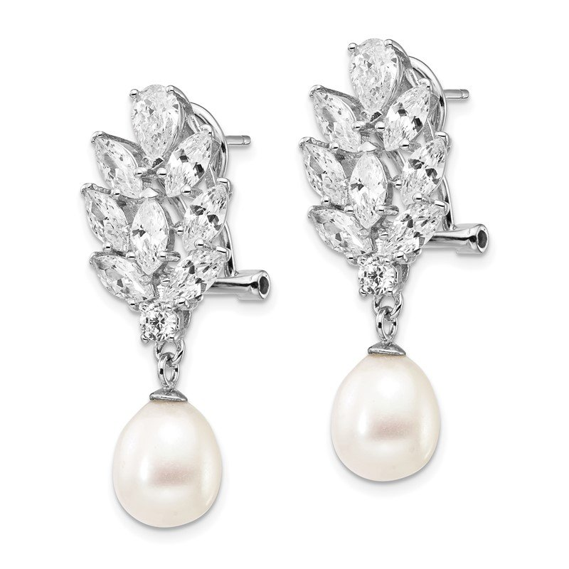 Cheryl M Cheryl M Sterling Silver Rhod Plated CZ & FWC Pearl Omega Back Earrings