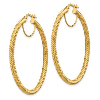 14k 3x40mm Twisted Round Hoop Earrings