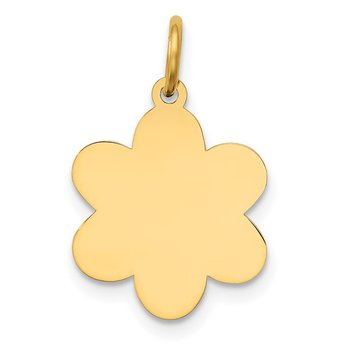 14k Plain .018 Gauge Engravable Flower Disc Charm