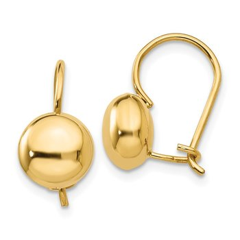 14k Polished 8mm Button Kidney Wire Earrings