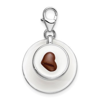 SS RH 3-D Enameled Cappuccino w/Lobster Clasp Charm