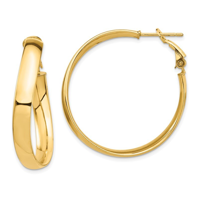 14k High Polished 5mm Wavy Omega Back Hoop Earrings