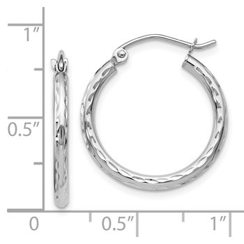 Leslie's 10K White Gold D/C Hinged Hoop Earrings