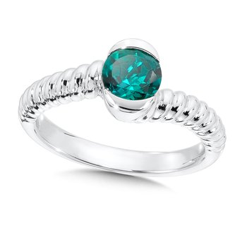 Sterling Silver Created Emerald Colore Of Life Stack Ring