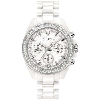 White Ceramic and Crystal Chronograph