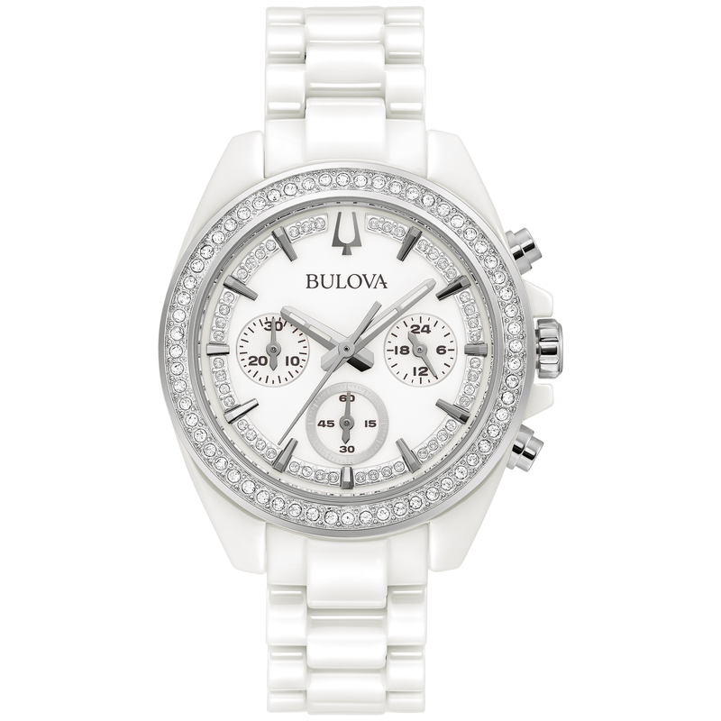 Bulova White Ceramic and Crystal Chronograph