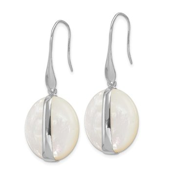 Sterling Silver Rhodium-plated Mother of Pearl Leverback Earrings