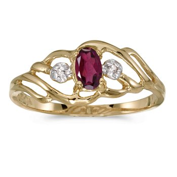 14k Yellow Gold Oval Rhodolite Garnet And Diamond Ring