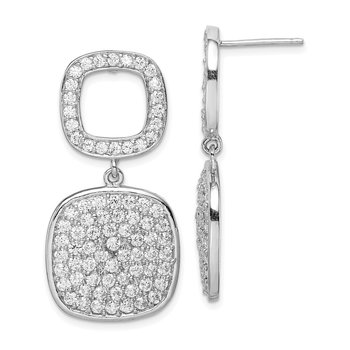 Sterling Silver CZ 2-Squares Post Dangle Earrings