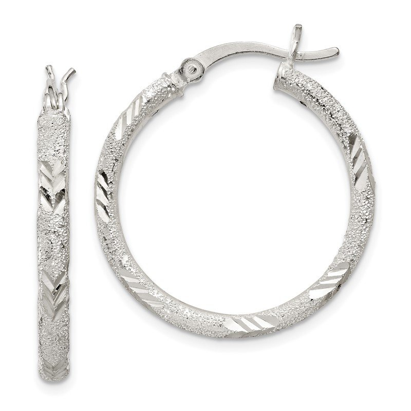 Lester Martin Online Collection Sterling Silver 2.5mm Diamond-cut Laser-cut Hinged Hoop Earrings
