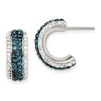 Sterling Silver White and Blue Crystal and Resin J Hoop Earrings