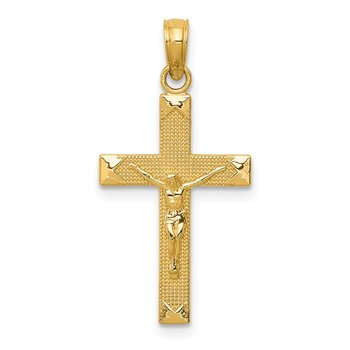 14K Beveled Tipped Crucifix Pendant